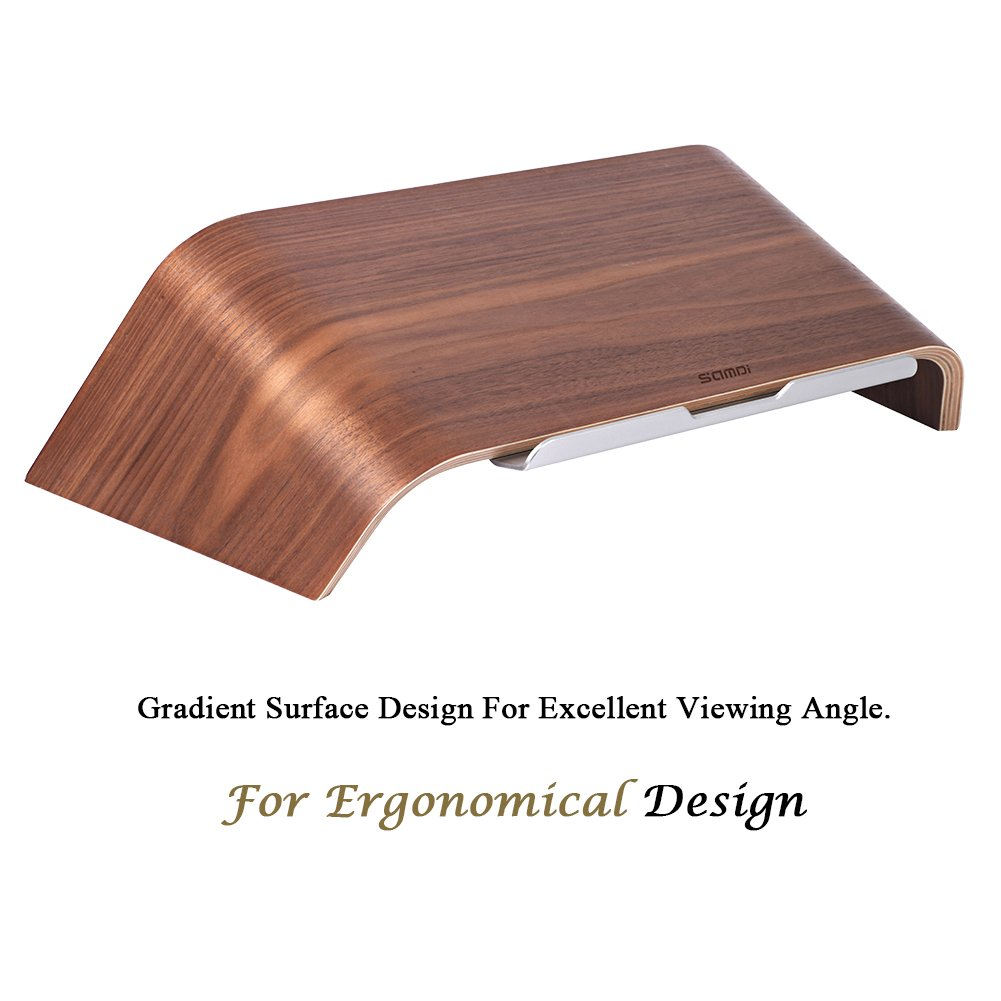 Laptop holder for Apple MacBook Air Pro Lenovo and More 11~15 Notebooks Desktop HP Samsung Birch SAMDI Wood Notebook Stand Dell XPS