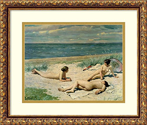 Framed Art Print 'Nude Bathers on the Beach' by Paul Fischer