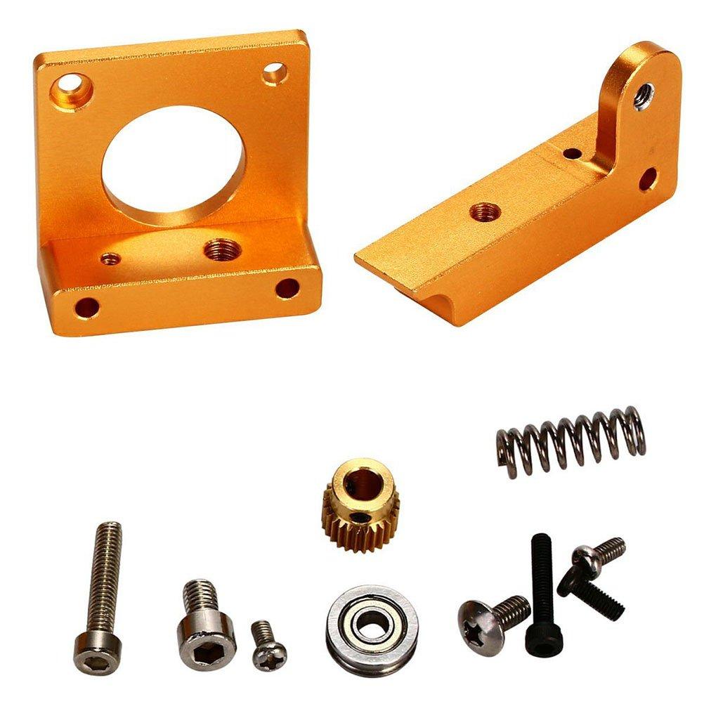 UEETEK 3D Drucker MK8 Extruder Aluminium Rahmen Block DIY-Kit Reprap i3 alle Metall BI090 (Golden)
