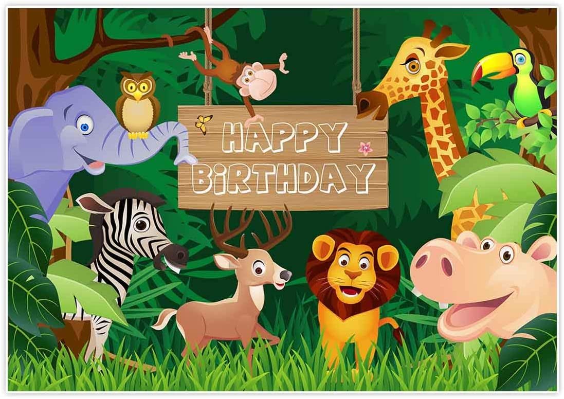 Sensfun Jungle Animal Backdrop Summer Tropical Desert African Forest Wild Animals Safari Scenic Party Photography Background Children Boys Birthday Banner Decorations Photoshoot Props 7x5ft