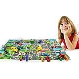 Jinbs プレイマット おでかけレジャーマップ お町マップ ミニカー&道路標識付き 子どもおもちゃ 知育玩具 子どもの誕生日プレゼント 女の子 男の子 ロードマップ 地図マップ