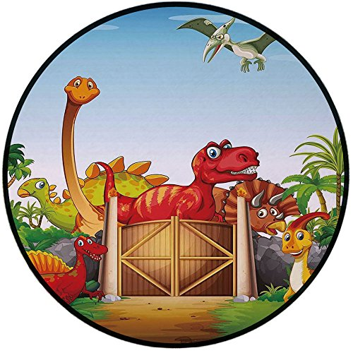 Printing Round Rug,Kids,Cartoon Style Cute Dinosaurs in a Dino Park Jungle Trees Wildlife Habitat Illustration Mat Non-Slip Soft Entrance Mat Door Floor Rug Area Rug for Chair Living Room,Multicolor