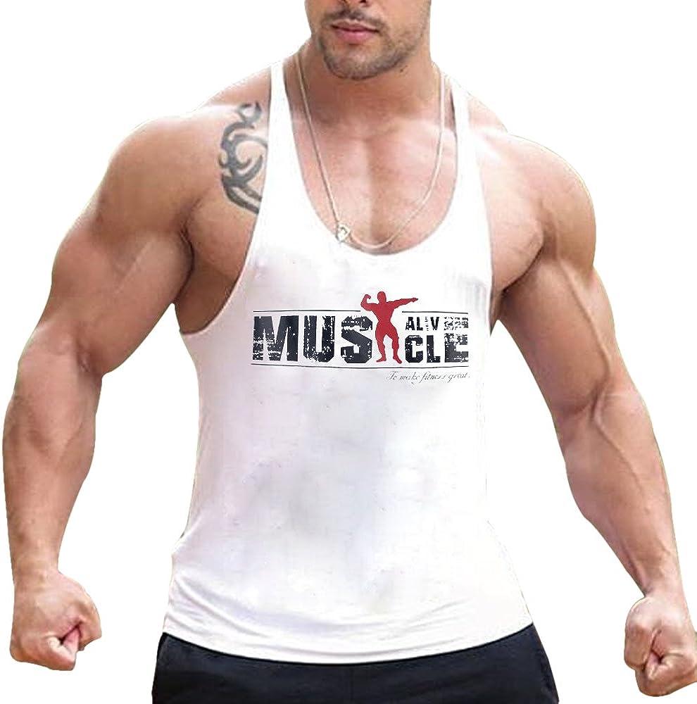Débardeur hommes haut sans manche encolure ronde dos nageur bodybuilding MMA gym