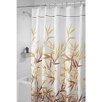 "54/"" x 78/"" Black//Gray Stall InterDesign Leaves Fabric Shower Curtain"
