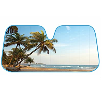 BDK AS- 601_AM Palm Tree Tropical Island Sunset Auto Windshield Sun Shade (for Car SUV Truck-Bubble Foil Folding Accordion) - AS-601__AM: Automotive