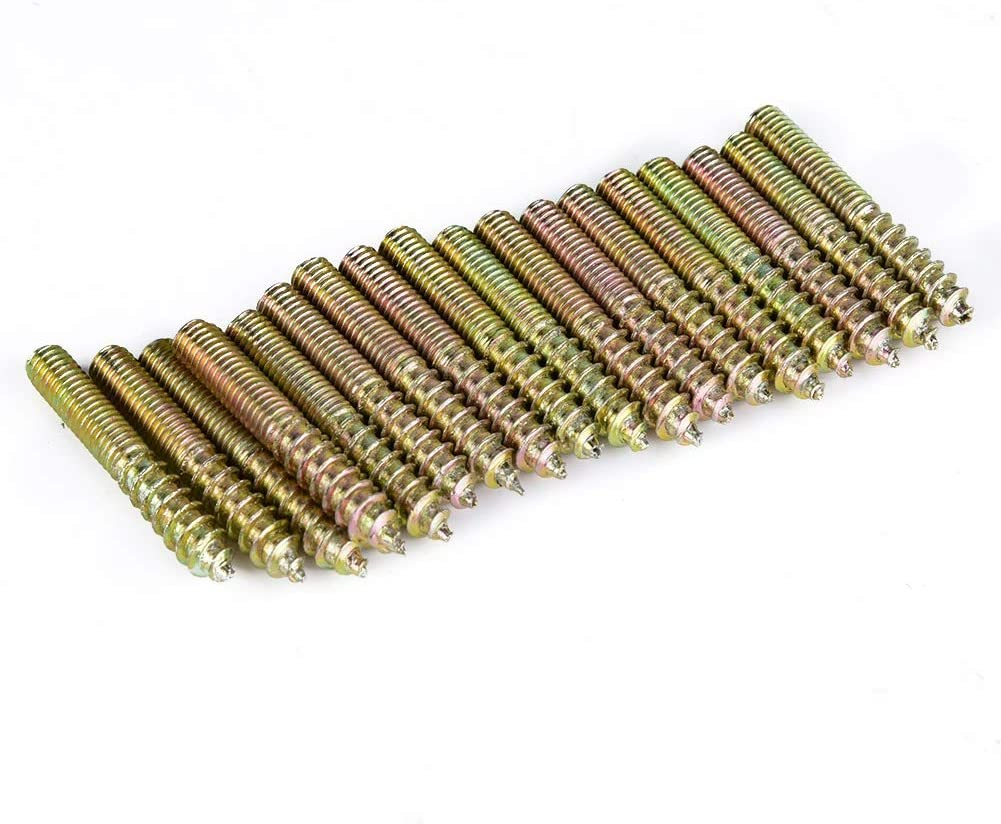 Fafeicy 80Pcs M5 Dowel Screw Woodworking Furniture Connector Double Ended Screw Hanger Bolt