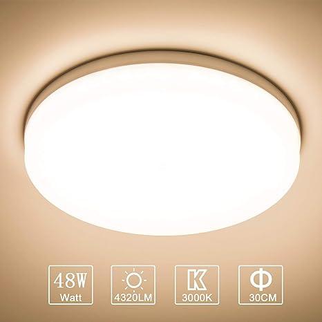 Yafido LED Lámpara de Techo Moderna 48W Plafón Led Redonda Ultra Delgado Downlight Blanco Cálido 3000K 4320LM adecuada para Cocina Balcón Dormitorio ...