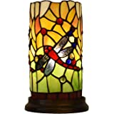 AphroditeL Tiffany Style Handmade Stained Glass Dragonfly 10-Inch Pillar Accent Lamp for Living Room Bedroom Bedside Table De