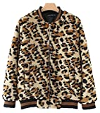 YOSUNL Women's Leopard Print Jacket Faux Fur Long Sleeve Outwear Loose Bomber Flight Coat L