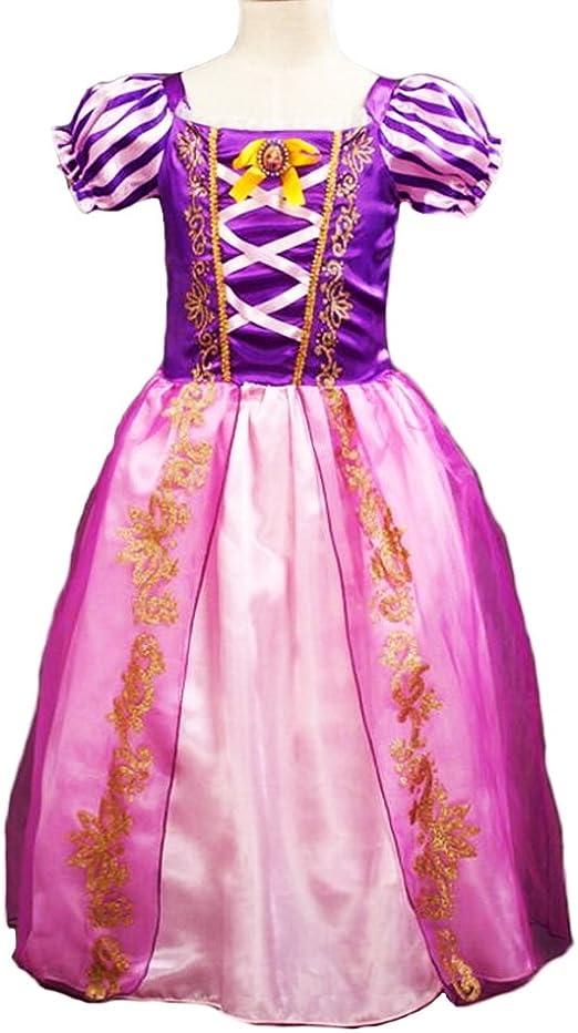 Disfraz de la princesa Rapunzel para niñas, vestido de manga ...