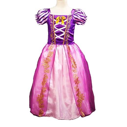 Disfraz de la princesa Rapunzel para niñas, vestido de manga; Cosplay, disfraz de Halloween, vestido de fiesta de cumpleaños