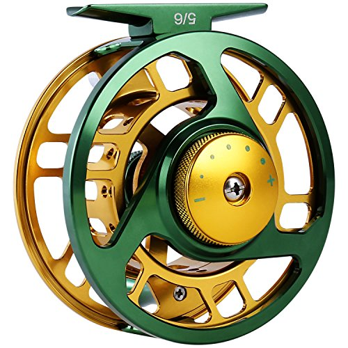 YONGZHI Fly Fishing Reel Large Arbor Right Left-Handed 2+1 BB with CNC-Machined Aluminum Alloy Body and Spool in Fly Reel Sizes 5/6