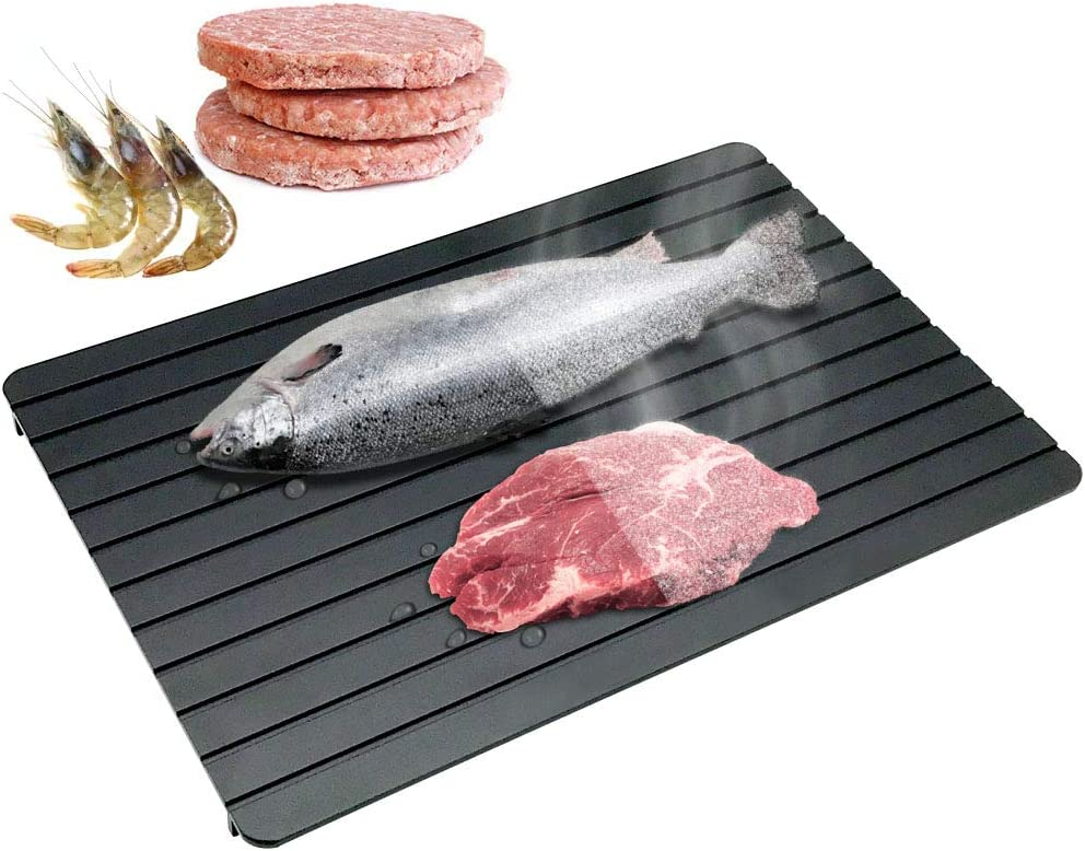 CHEFLY Large Fast Defrosting Tray for Frozen Meat Foods 13.8〃 by 7.8〃 No Electricity Aluminum Miracle Natural Thawing Plate D2002