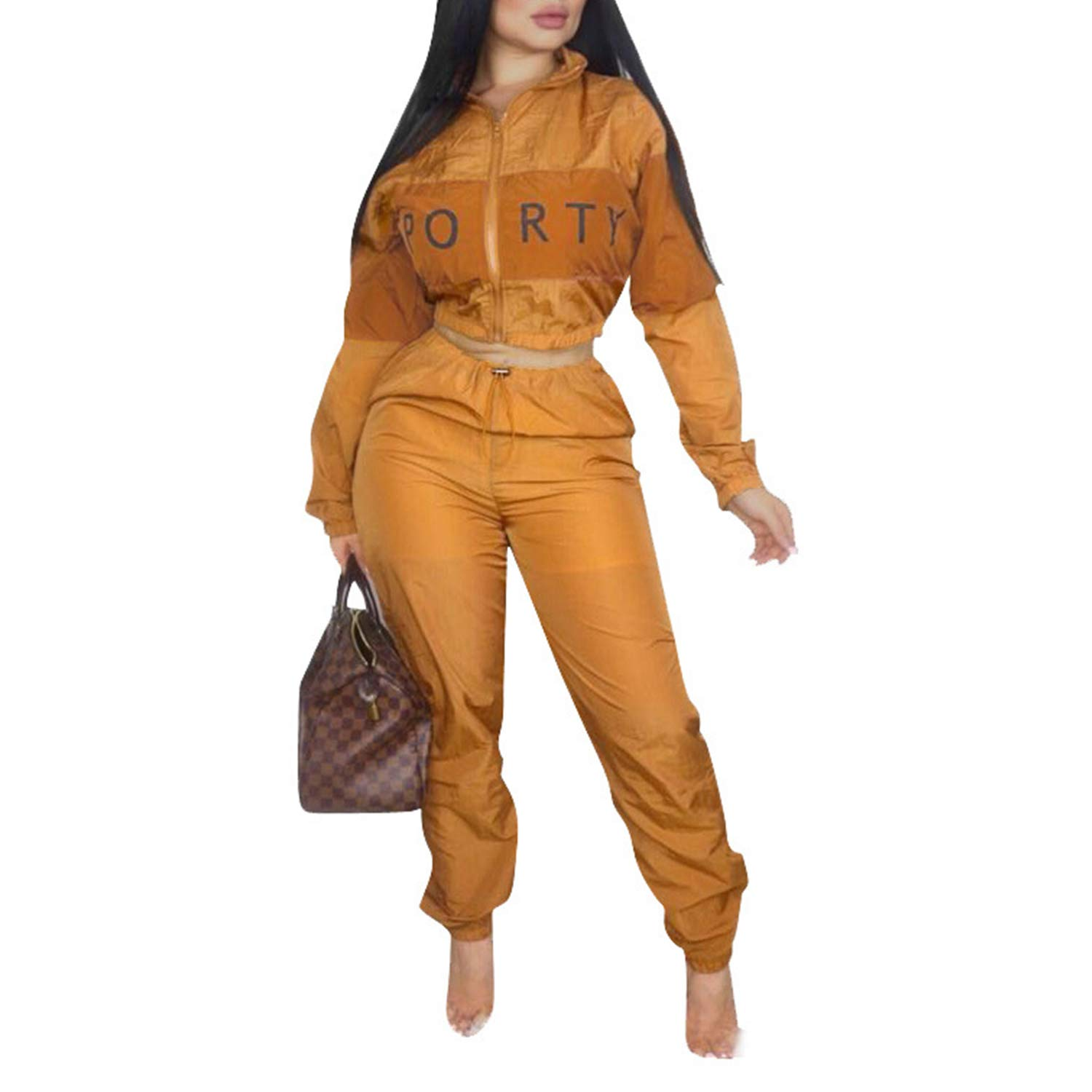 Casual Sweatsuit Crop Tops Long Sleeves Jacket High Waisted Pants Letter Orange 2X by Sherro