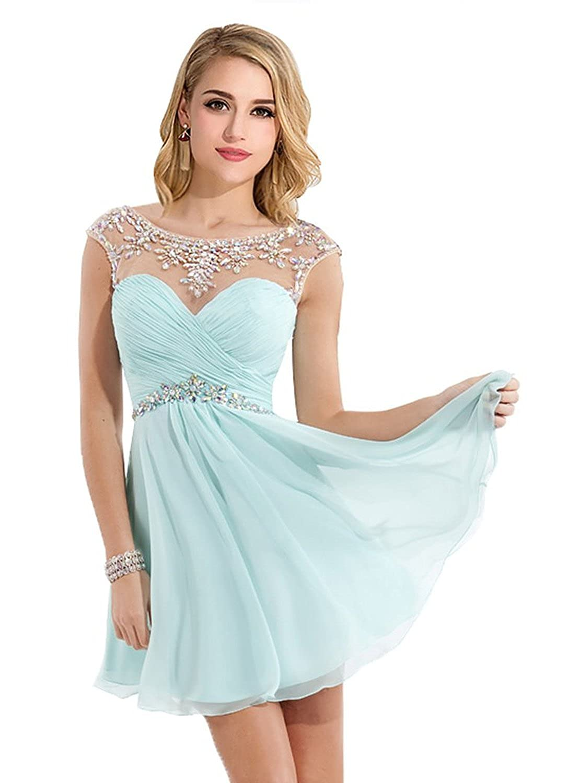 Amazon.com: Babyonline Beaded Chiffon Prom Dresses 2015 Short ...