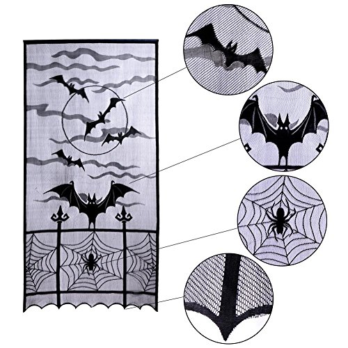 LifeMadeSimple Halloween Curtains Door Decoration Tablecloth with Bats Spider Web for a Creepy Holloween Decor or Haunted House - 2 pcs 84 x 40 Inches Sheer Polyester Lace ()