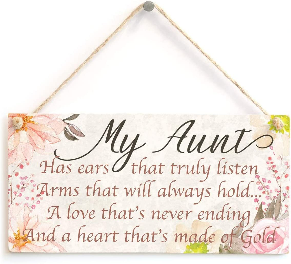 """Ufcell My Aunt Has Ears That Truly Listen Arms That Will Always Hold Wood Signs 5""""x10"""" Funny Home Decor"""