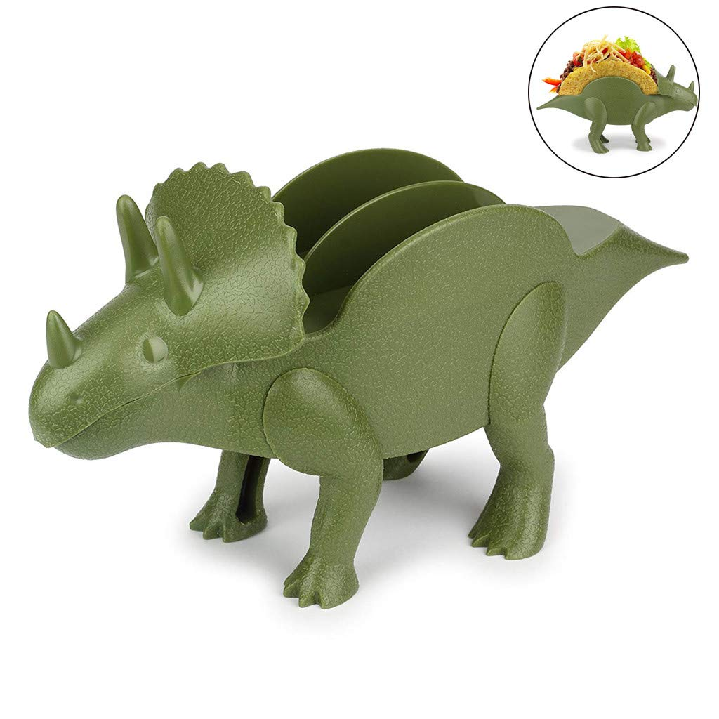 Dinosaur Taco Holder - The Ultimate Prehistoric Taco Stand Scaffold for Taco Tuesdays and Dinosaur Parties - Holds 2 Tacos - The Perfect Gift for Kids and Adults (Green)