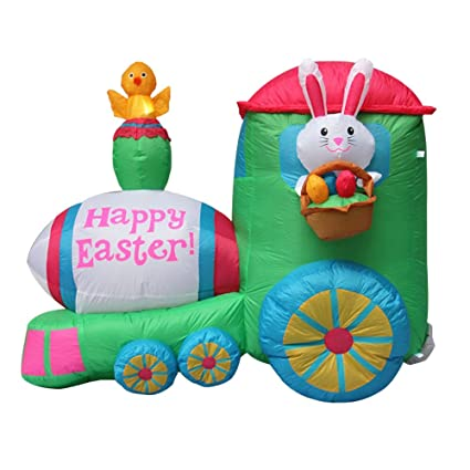 Impact Canopy Inflatable Outdoor Easter Decoration Easter Bunny Train 4 Feet Tall
