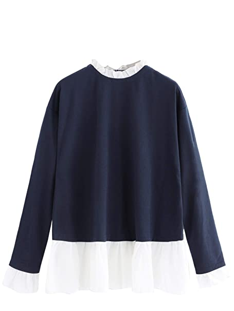 fe7557eb162b SheIn Women's Casual Mock Neck Colorblock Heather Knit Sweatshirt at Amazon  Women's Clothing store: