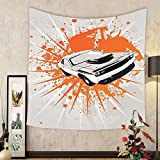 Gzhihine Custom tapestry Cars Decor Tapestry Graffiti Style Inspired Sports Car Sprinting Graphic Work With Splashed Color Elements Bedroom Living Room Dorm Decor Grey Orange