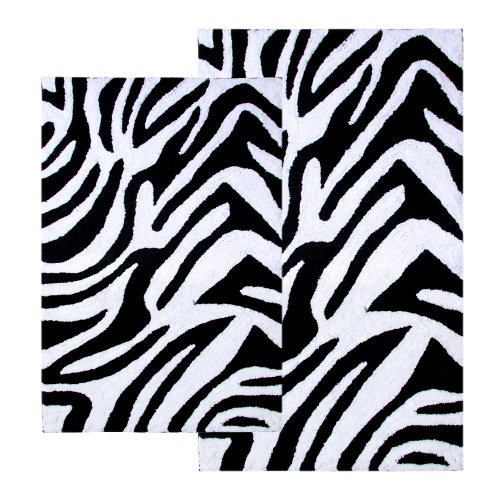 - Chesapeake 2-Piece Zebra 21-Inch by 34-Inch and 24-Inch by 40-Inch Bath Rug Set, Black and White
