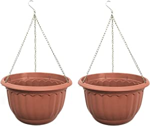 YIKUSH Plastic Garden Plant Hanging Planter Decor Pots 2 Pcs, Dia.12-Inch Round (2)