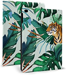Ultra Thin Smart Leather Ipad Protective Case, Exotic Pattern Tropical Leaves Tiger for Ipad 2017/2018 9.7inch Ipad Air 1/2 9.7inch with Automatic Sleep/Wake Function