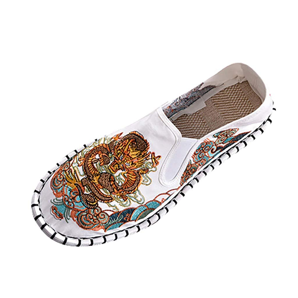 Women's Loafers & Slip-Ons Embroidery Dragon Printed Shallow Flat Casual Shoes Comfort Penny Walking Shoes (White, US:9)