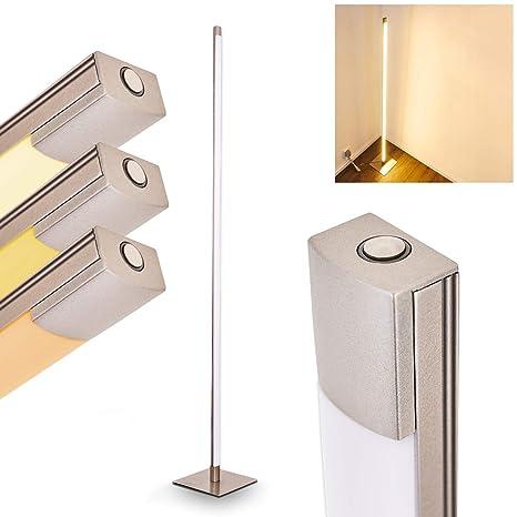 Lámpara de pie playa de metal níquel mate - LED Lámpara de ...