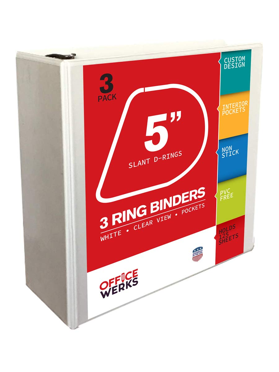 3 Pack of 3 Ring View Binder, 5 inch, White by Amazing Bath