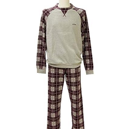 Pijama de hombre de invierno de forro polar pantalón escocés vino tinto 60