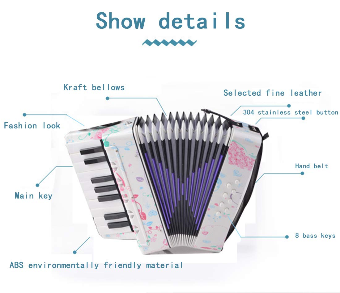SFQNPA Heart-Shaped Children's Amateur Beginner Mini 17-Key 8 Bass Accordion Educational Instrument Toy Kids Piano Percussion Accordion Musical Toy,Green by SFQNPA (Image #3)