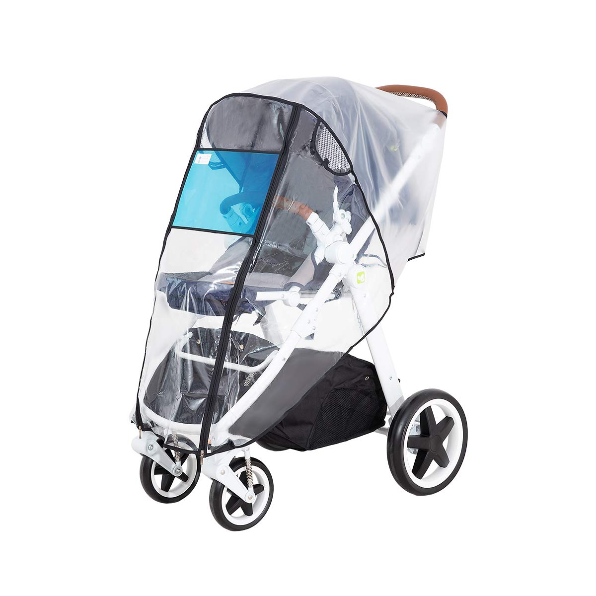 Hrzeem Stroller Rain Cover Stroller Cover Universal Baby Stroller Weather Shield with Storage Pouch EVA Clear Zip Front Opening Waterproof Windproof Protection Easy to Install for Outdoor Use (Black) by Hrzeem