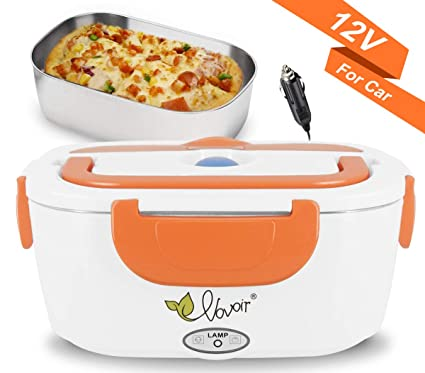 56881b44b2c1 Electric Lunch Box Heating Lunch Box Food Warmer Lunch Box with 1.5L  Detachable Stainless Steel Food Container 12V 40W for Car (Orange)