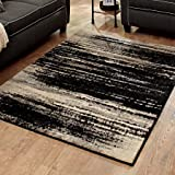 Classic Serene Durable Easy Care Black Shaded Lines Olefin Area Rug 5' x 7'