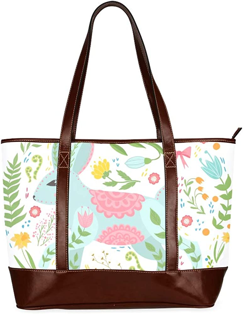 Tote Bags Rabbit Flowers Scandinavian Style Folk Travel Totes Bag Fashion Handbags Shopping Zippered Tote For Women Waterproof Handbag