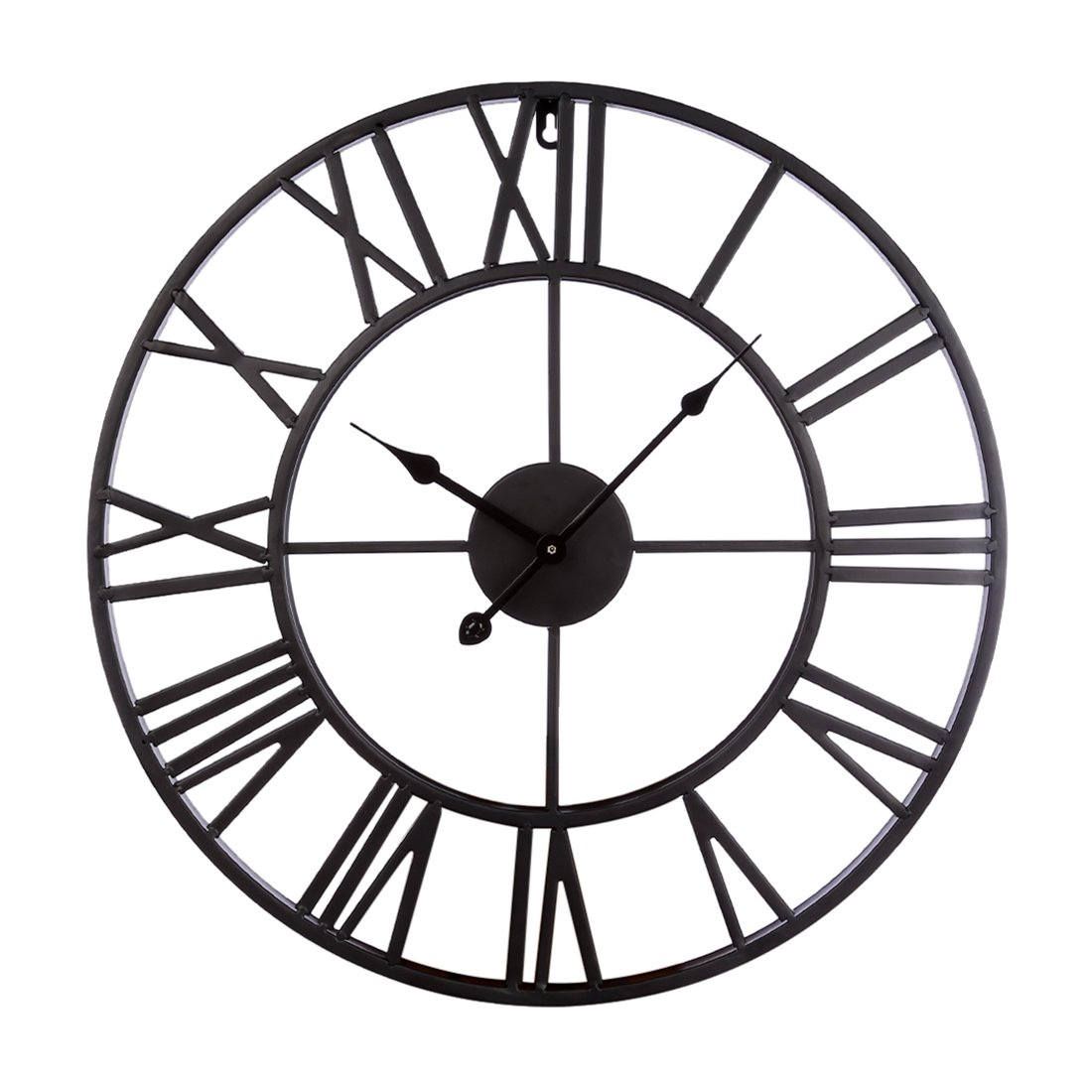 XSHION Vintage Wall Clock, 20 Inch Wall Clocks Rustic Large Iron Decorative Wall Clock Antique Metal for Living Room/Kitchen/Hotel (Black)