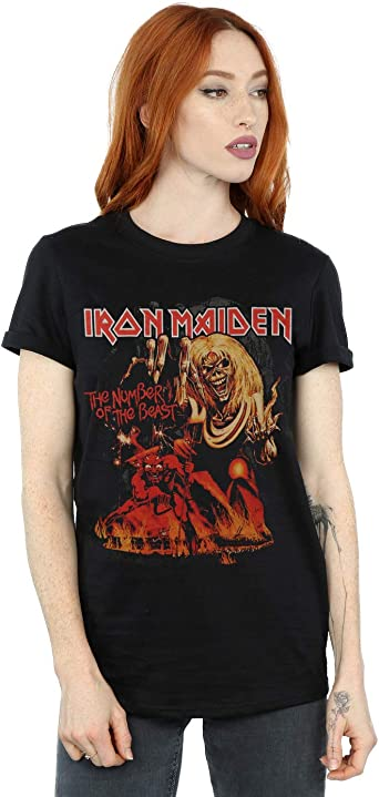 Absolute Cult Iron Maiden Mujer Number of The Beast Graphic Camiseta del Novio Fit