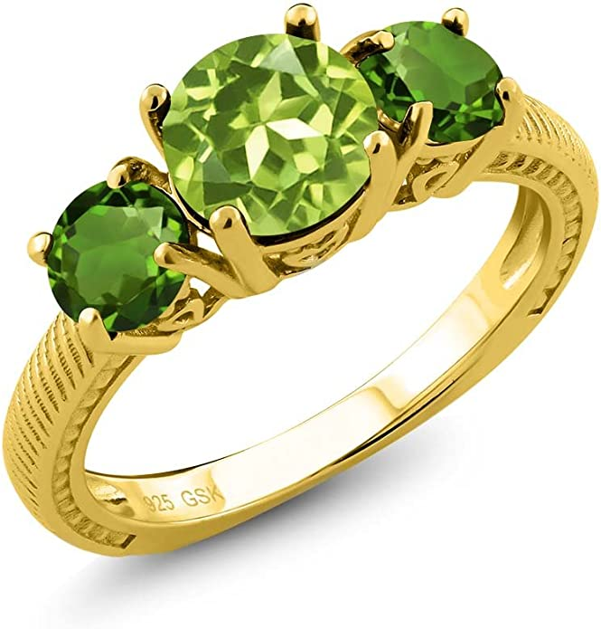 Sapphire CZ Ring Yellow Gold Plate Sterling Silver Chrome Diopside Emerald