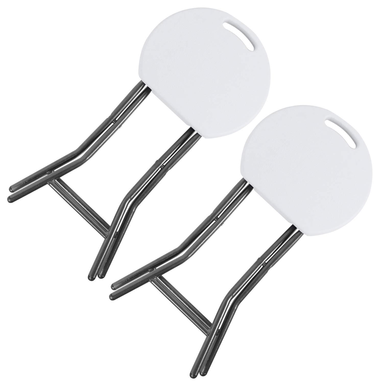 RFIVER 2 Taburetes Plegables de Metal y plástico Ligero de Color Blanco 33 x 30 x 46 CH1003