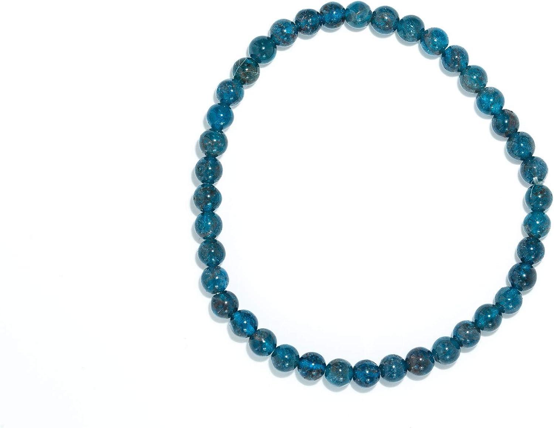 Taddart Minerals Pulsera azul de piedra preciosa natural apatita con bolas de 4 mm colocadas en hilo de nailon elástico – Hecho a mano