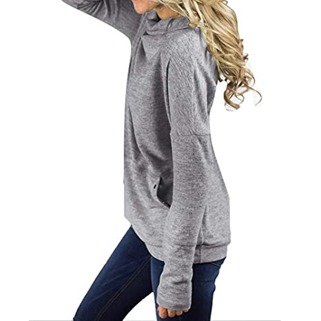 Amazon.com: Sunhusing Womens Fashion High Cowl Neck Solid Color Drawstring Sweater with Pocket: Clothing