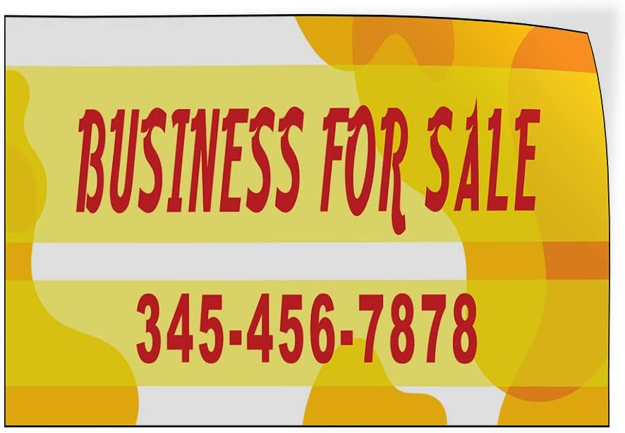 Custom Door Decals Vinyl Stickers Multiple Sizes Business for Sale Phone Number Yellow B Business for Sale Outdoor Luggage /& Bumper Stickers for Cars Yellow 54X36Inches Set of 2