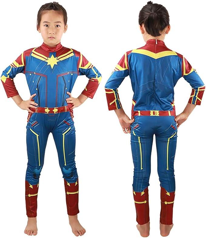 HuangWeida - Disfraz de superhéroe para niña de Carol Danvers ...