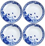 BandTie 4-Pack 4-Inch Small Size Round Plate Kitchen Dishes Chinese Jingdezhen Bone China Soy Sauce Dessert Plates Dish Fashion Creative Ceramics Tea Coffee Cup Saucer,Blue Flowers