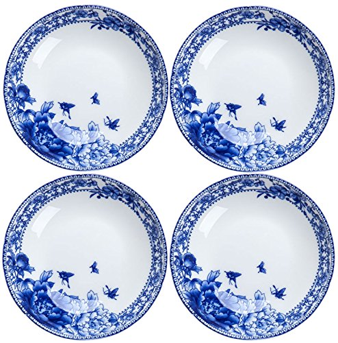 BandTie 4-Pack 4-Inch Small Size Round Plate Kitchen Dishes Chinese Jingdezhen Bone China Soy Sauce Dessert Plates Dish Fashion Creative Ceramics Tea Coffee Cup Saucer,Blue Flowers (Bone China Sauce)
