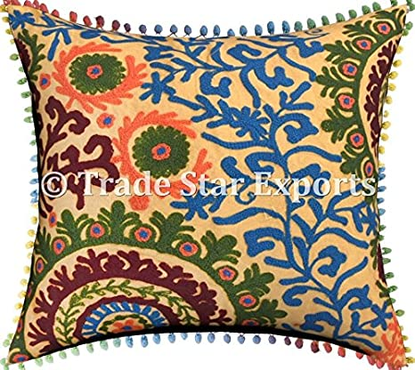 Amazon Com Suzani Square Pillow Cover 24 X 24 Cushions For Patio Furniture Cushion Cover With Pom Pom Embroidered Euro Sham Indian Ethnic Decorative Cushion Covers Bohemian Throw Pillow Cases Pattern 3 Home