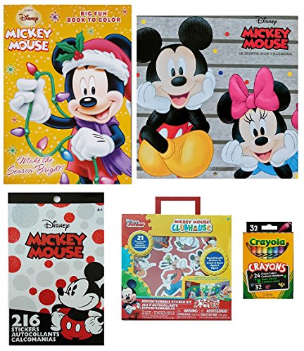 Disney Mickey Mouse and Friends Christmas Stocking Stuffer Starter Gift Set of 5 Items: 2018 Calendar, Stickers, Coloring and Activity Book, Re-positional Sticker Kit, and Crayons