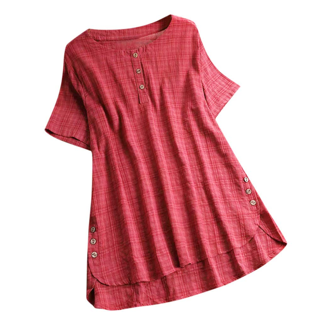Plus Size Womens Cotton and Linen Button Blouse Ladies Casual Solid Short Sleeve T Shirt Top Red